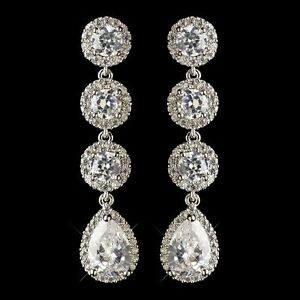 Image Is Loading Bridal Silver Cz Oval Amp Teardrop Dangle Earrings