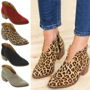 Ladies-Womens-Boots-Mid-Heels-Court-Shoes-Office-Ankle-Chelsea-Boots-Shoes-Size