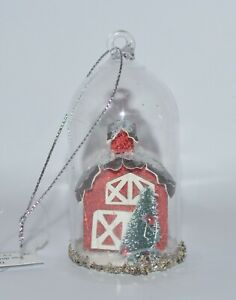 BATH-BODY-WORKS-GLITTER-RED-BARN-CLOCHE-MAGNET-LARGE-3-WICK-CANDLE-DECOR-TOPPER