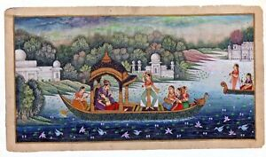 Mughal-Emperor-and-Empress-Enjoying-Romance-and-Dance-on-Boat-Miniature-Painting