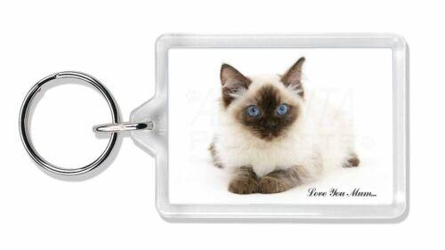MUM-C5K Ragdoll Cat /'Love You Mum/' Photo Keyring Animal Gift