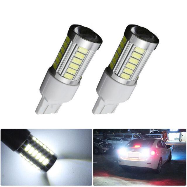 2× T20 6000K White 7440 7443 5630 33SMD LED Car Backup Reverse Lights Bulb
