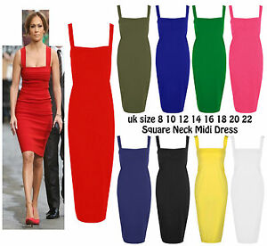 db6c0f504d6 Image is loading Womens-Sleeveless-Square-Neck-Midi-Dress-Party-Jersey-