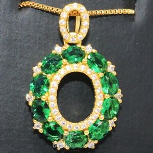 1CT-Green-Oval-Emerald-Halo-Pendant-18-034-Chain-Necklace-14K-Yellow-Gold-Plated