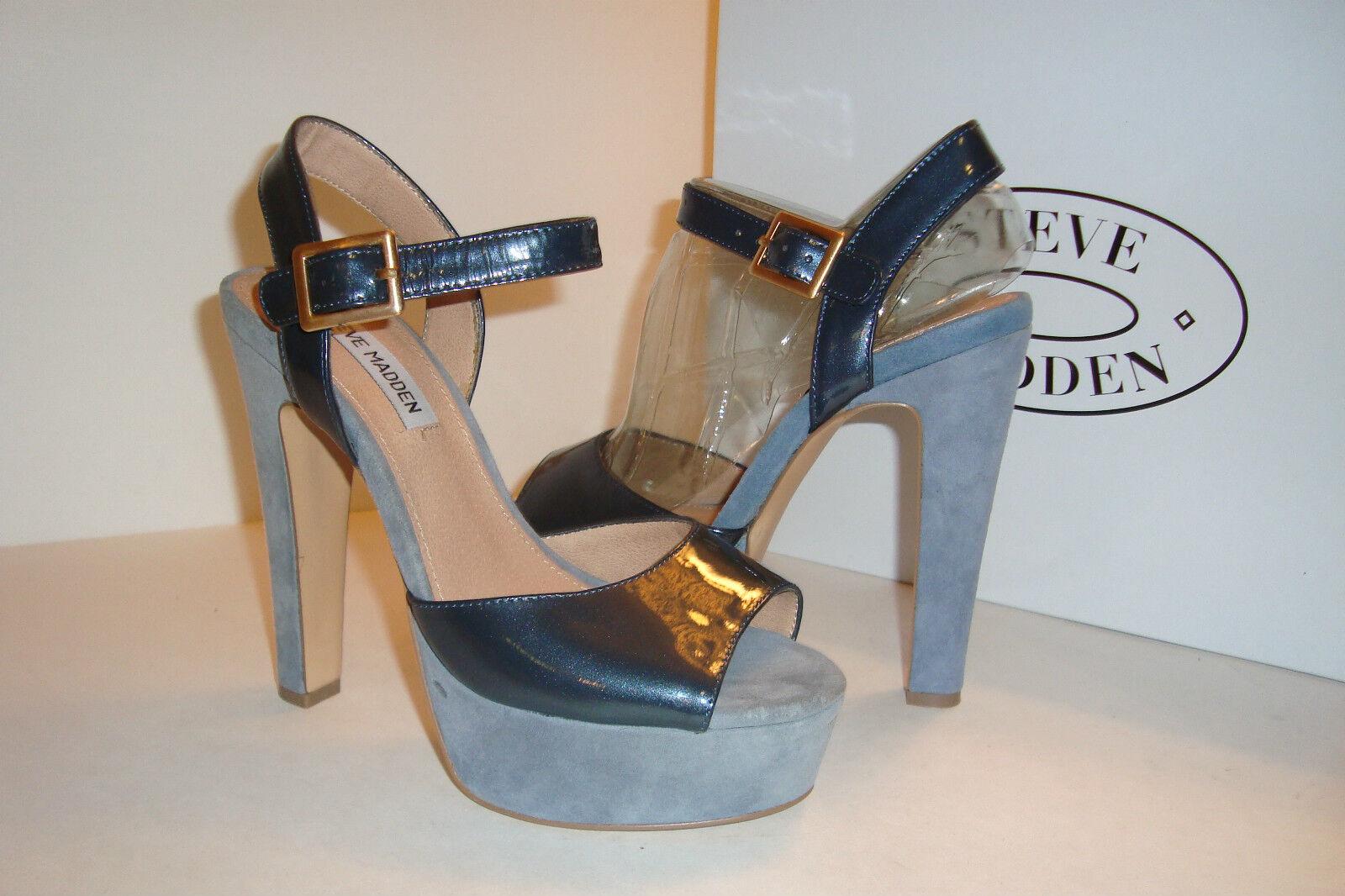 Steve Madden Donna Dynemite Blue Multi Ankle Sandals Shoes 9 MED DISPLAY
