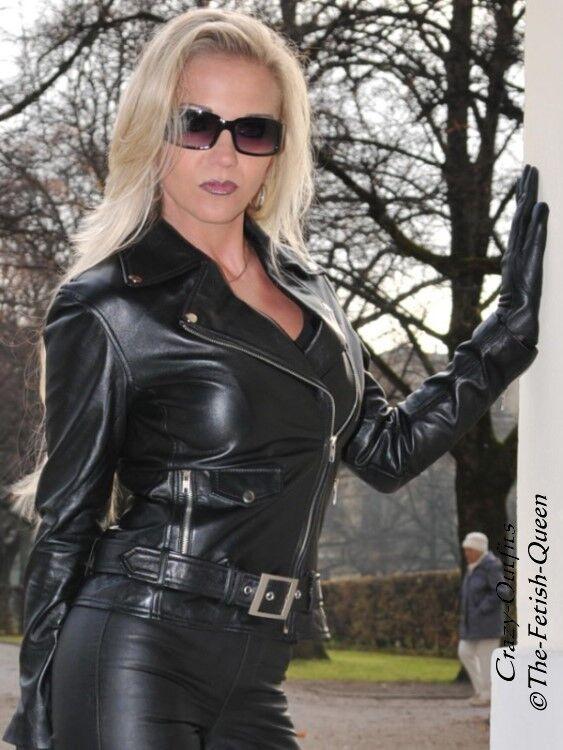Chaqueta  de cuero chaqueta de cuero negras Biker-style cordados, hecha a medida  selección larga