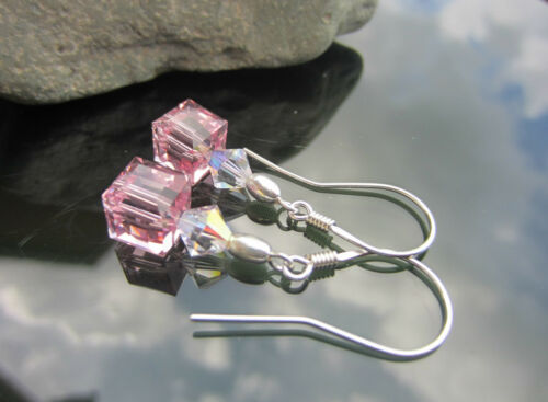 Cube Crystal and Bicone Rose AB 925 SILVER EARRINGS made with SWAROVSKI ELEMENTS