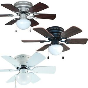 30 Inch Flush Mount Hugger Ceiling Fan W Light Kit Satin Nickel Bronze Or White Ebay