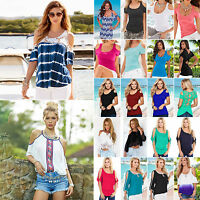 Summer Sexy Womens Off Shoulder Short Sleeve Casual T-Shirt Tops Loose Blouse