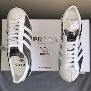 Details about Prada x Adidas Superstar silver metallic