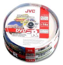 JVC DVD-R 4.7 GB 16x velocità 120MIN stampabile / registrabili lucido DISCHI SPINDLE Pk 25