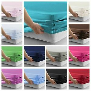 Plain-Cotton-Blend-Fitted-Sheet-Sheets-Pillowcases-Single-Double-Super-King-Size