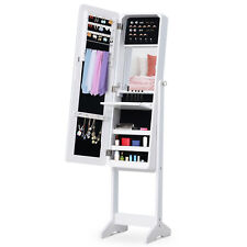 Freestanding Mirrored Jewelry Cabinet Armoire Organizer w/ Stand LED White