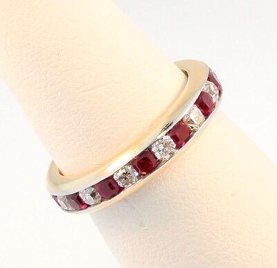 Tiffany & Co 4mm Lucida Eternity Ruby Diamond Band Ring Sz 5.0