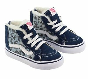 1ba1940735 New TODDLER Vans SK8-Hi Zip Leopard Denim Fleece Blue Kids Sneaker ...