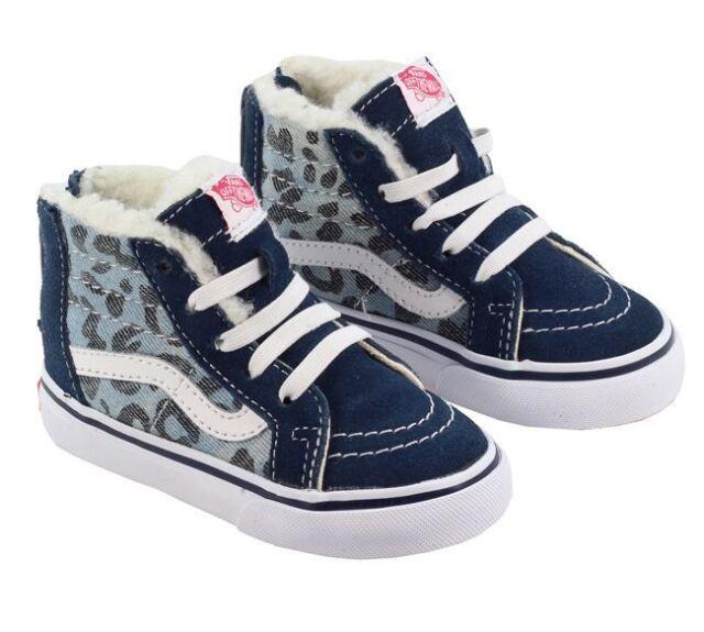 eb0ef4c10b6a New TODDLER Vans SK8-Hi Zip Leopard Denim Fleece Blue Kids Sneaker  Skateboard
