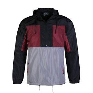 Men-039-s-Pullover-Half-Zip-Hood-Drawstring-Grey-Red-Windbreaker-Sports-Jacket