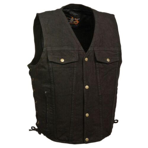 Homme Noir Denim Side Lace Gambler Gilet Snap Front design avec deux poches poitrine