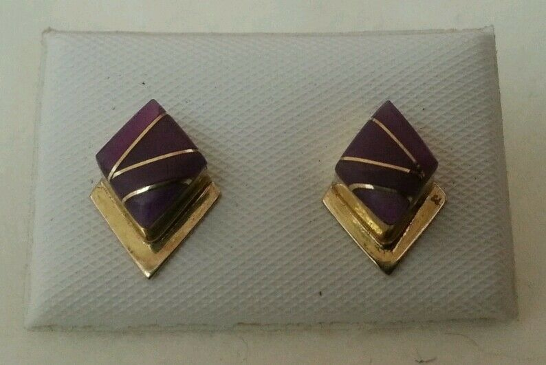 Yellow gold 14kt Natural Sugalite Inlay Earrings Stunning