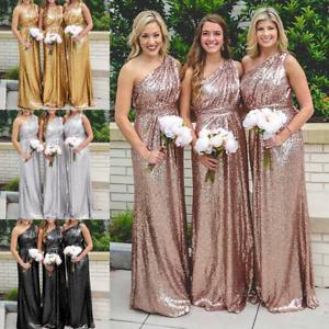 Lang Damen Abendkleid Pailletten Brautjungfernkleid Formal Ballkleid Partykleid