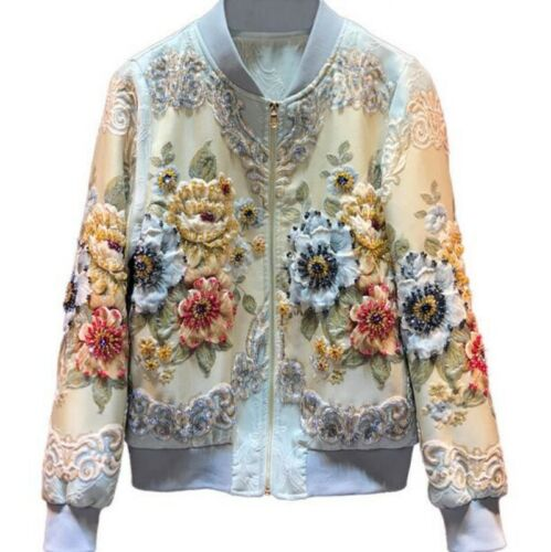 Womens Collar Printing Coat Vogue Casual Fit N1 Sleeve Zip Stand Long Beads Slim 4qwdqWUX