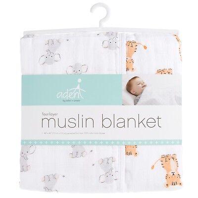 Elephant/tiger Humorous Aden Muslin 100% Cotton Large Baby Dream Blanket Safari Babes