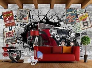 3d classic car vintage garage art wall murals wallpaper decalsimage is loading 3d classic car vintage garage art wall murals