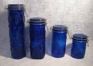 Cobalt-Blue-Glass-Canisters-Set-of-4-Elements