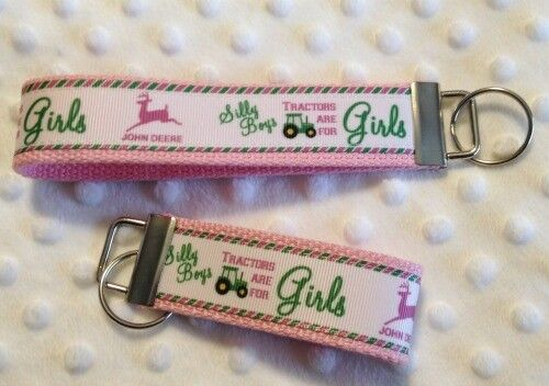 Silly Boys Tractors are for girls Pink  Key chain key fob MAKES A GREAT GIFT!