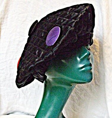 VINTAGE FRENCH BERET HAT BLACK SATIN QUILTED  5 BUTTONS  FROM PARIS BROCANTE