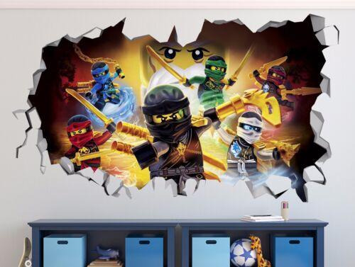 Lego Ninjago Mur Decal Autocollant Vinyle Décoration Porte Extra Large Smashed murale R02