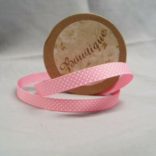 Bowtique Grosgrain Pink Polka Dot Spot Ribbon 10mm x 5m Reel