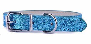 """1 Cm Large Bleu Paillettes Pet Chien Qualité Pu Cuir Boucle Col Pets 8 - 11""""-afficher Le Titre D'origine"""