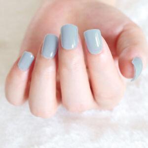 24 pcs solid light blue false nails short cheap full nail