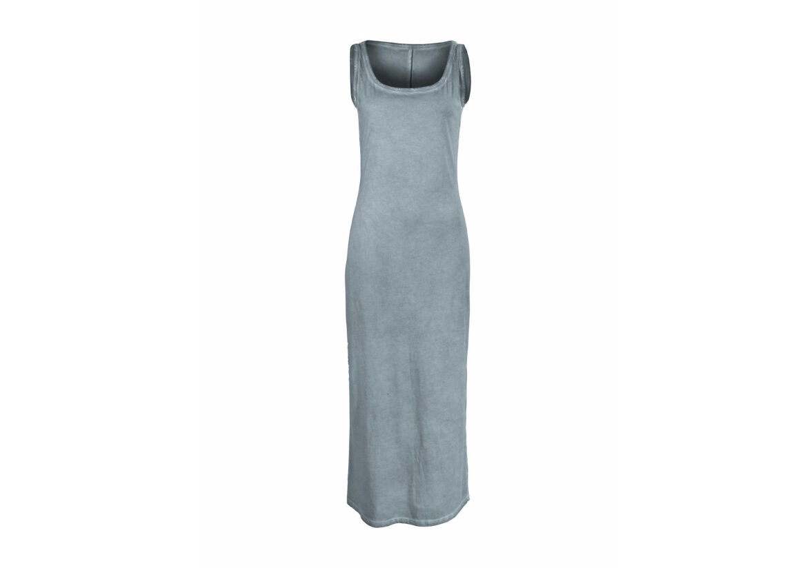 NEW PERUVIAN CONNECTION Vintage Wash Summer Beach Cotton Tank Dress pale bluee S