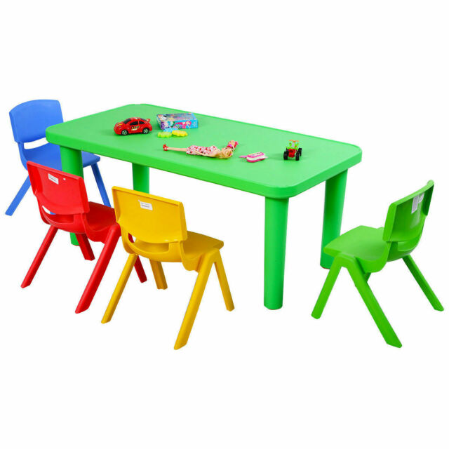 New Kids Plastic Table And 4 Chairs Set Colorful Play School Home Fun Furniture