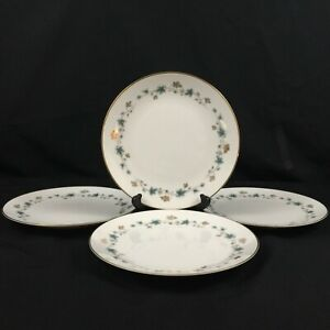 Set-of-4-VTG-Salad-Plates-8-034-by-Noritake-Elmdale-Blue-Gold-Leaves-6219-Japan