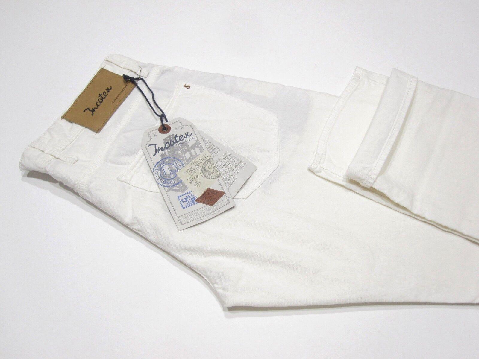 BNWT INCOTEX Cinquetasche  Sky Slim  White Cotton Linen Jeans Pants - Size 34
