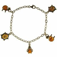 8 Inch/20cm Baltic Amber Sterling Silver 925 Animal Bracelet Jewellery Jewelry