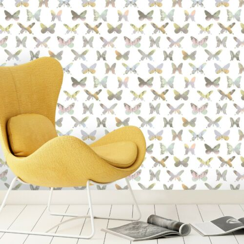 Gel Vinyl Paste The Wall Platinum Butterfly Wallpaper Pastel Shades PL2001