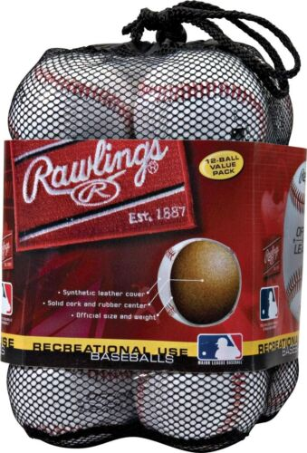Official League Recreational Use Baseballs in Mesh Bag of 12 Kids Adults White