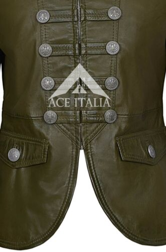 """/""""VICTOIRE/"""" Femmes Olive Parade Militaire Style Doux Véritable Nappa Veste en cuir 8976"""