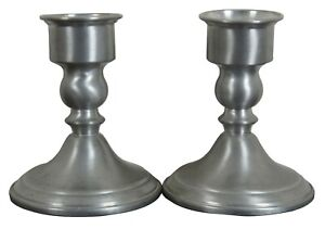 2-Vintage-WEB-Weighted-Pewter-Candlesticks-Candle-Holders-5-034