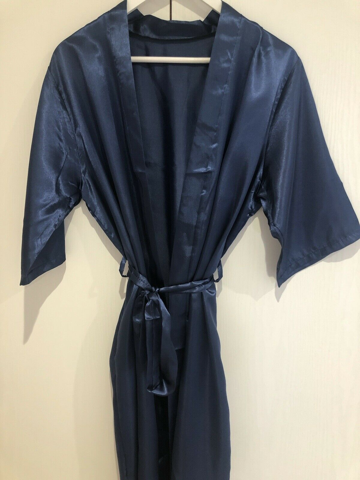 Navy Silk Robe With Aranka On Back In Rose Gold, BNWT, One Off