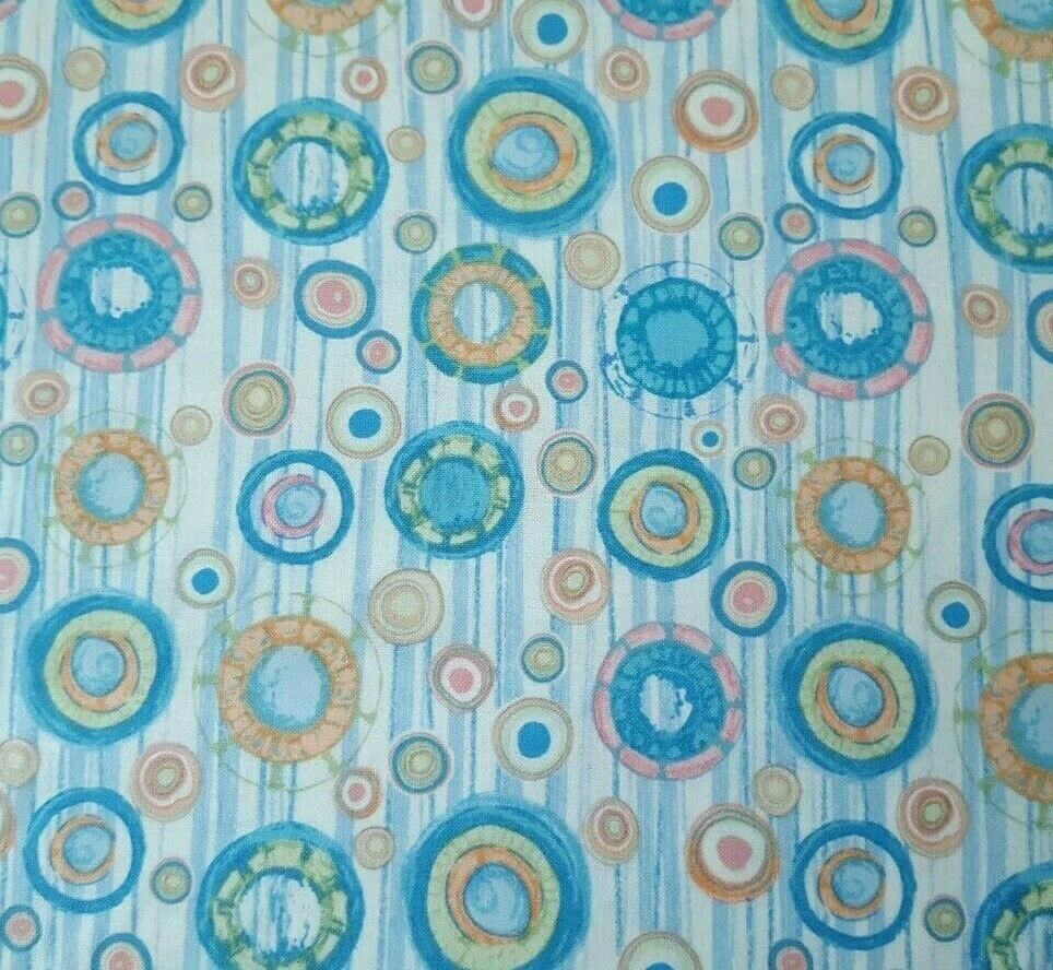 Fynn BTY P/&B Textiles Circles /& Dots Blue Green Teal Coral Pink Orange White