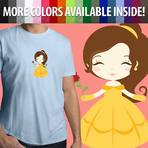 Disney-Beauty-and-the-Beast-Princess-Belle-Unisex-Mens-Tee-Crew-Neck-T-Shirt