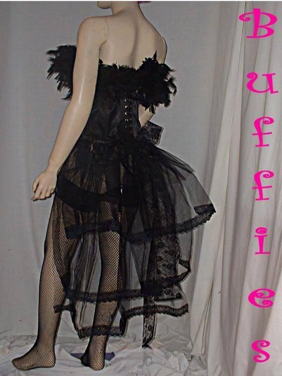 Dancer Tie on Bustle Lace Train Tail Dancer performer Goth Burlesque Black White