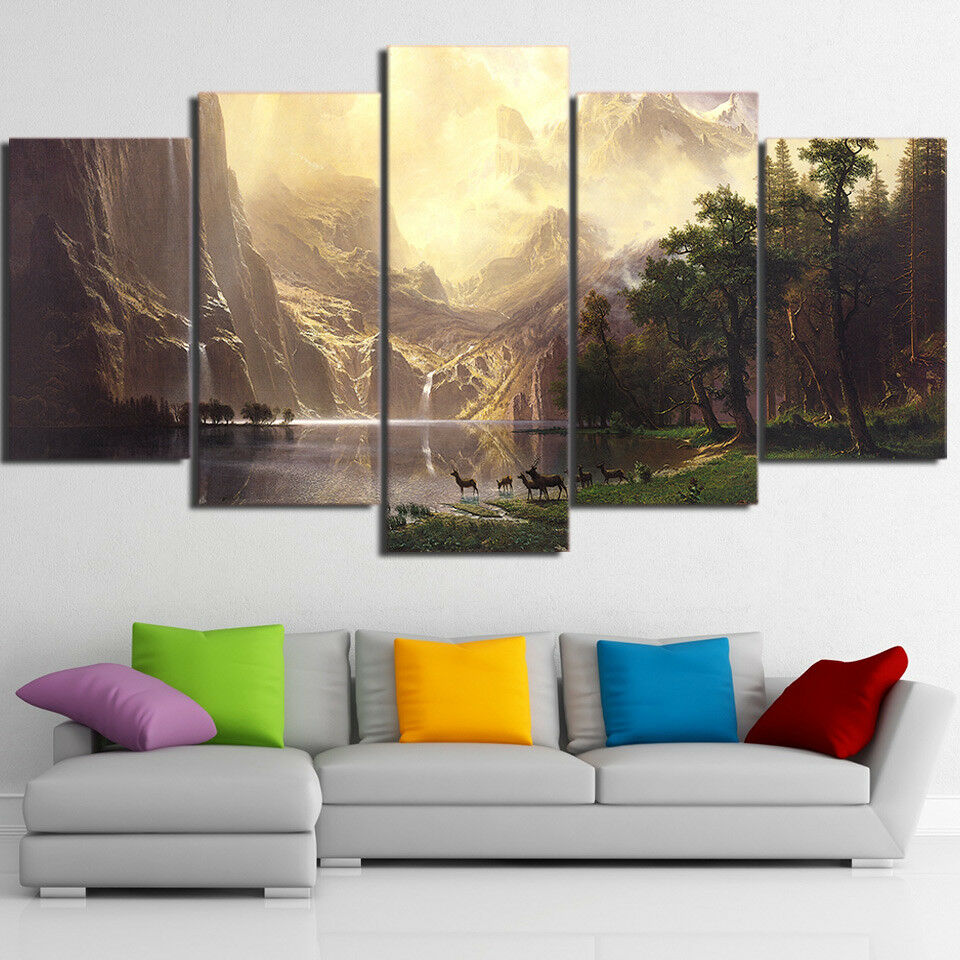 Mountain Lake Landscape Deer Forest 5 Piece Canvas Print Wall Art