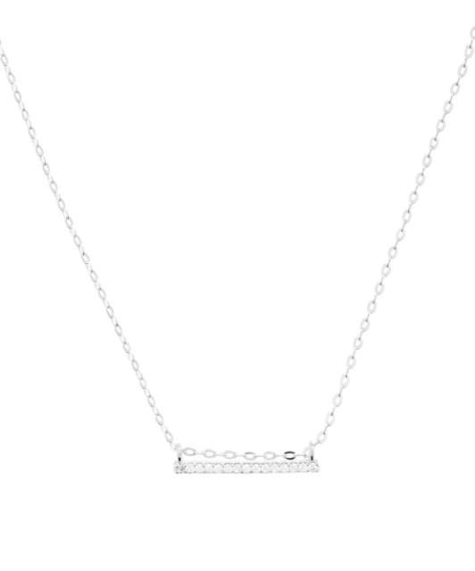 Nadri Womens Silver Sliding Bar Pendant Necklace 0171