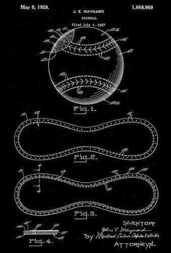 1928 Patent Art Poster Maynard Baseball Ball J E